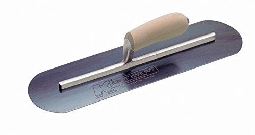 Kraft Tool CF737B Blue Steel Pool Trowel with Camel Back Wood Handle L-Shank, 16 x 4-Inch