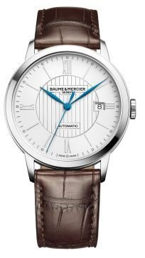 Baume et Mercier Classima Automatic Silver Dial Brown Leather Mens Watch 10214