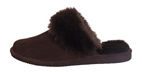 Rusnak Womens Sheepskin Leather Mule Slippers House Shoes/Warm Wool Lining P01