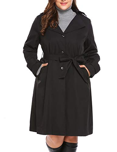 INVOLAND Plus Size Womens Single Breasted Long Trench Coat with Belt