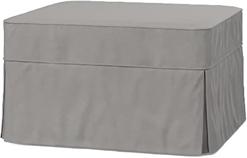 The Cotton Ottoman Slipcover Replacement. It Fits Pottery Barn PB Basic Ottoman. Dense Cotton Sofa Footstool Cover (Basic Light Gray) (Pb Barn Pottery)