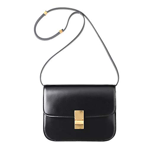 - LUCKYSGY Women Shoulder Crossbody Bag Leather Classic Messager Box Bag Handbag (Black)