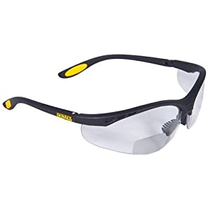 Dewalt DPG59-120C Reinforcer Rx-Bifocal 2.0 Clear Lens High Performance Protective Safety Glasses with Rubber Temples and Protective Eyeglass Sleeve
