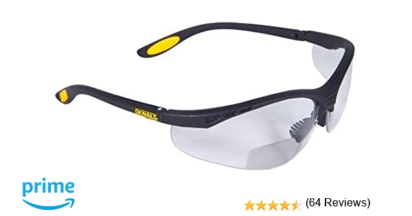 7ccb7b170178 DEWALT DPG59-115C Reinforcer Rx-Bifocal 1.5 Clear Lens High Performance Protective  Safety Glasses with Rubber Temples and Protective Eyeglass Sleeve: ...