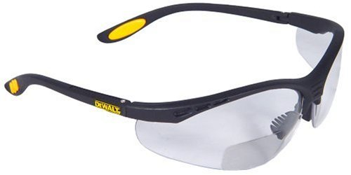 (Dewalt DPG59-120C Reinforcer Rx-Bifocal 2.0 Clear Lens High Performance Protective Safety Glasses with Rubber Temples and Protective Eyeglass Sleeve)