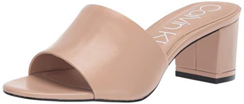 Calvin Klein Women's NEOLLY Heeled Sandal Desert Sand Leather 8 M US