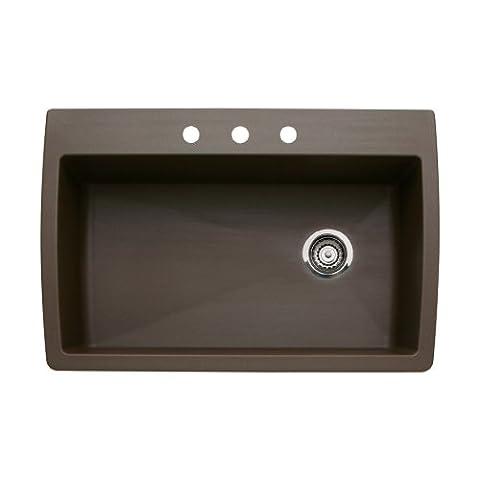 Blanco 440192-3 Diamond 3-Hole Single-Basin Drop-In or Undermount Granite Kitchen Sink, Cafe Brown (Brown Granite Kitchen Sinks)