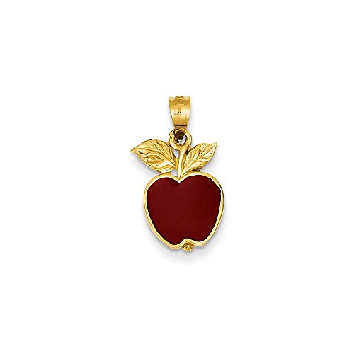 14k Gold Polished Red Enameled Apple Pendant (0.79 in x 0.39 in)