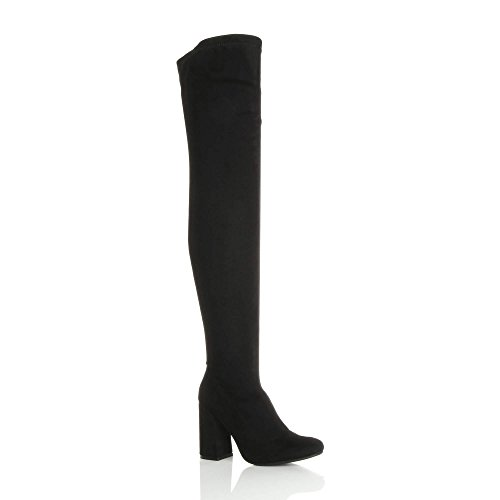 Ajvani Womens Ladies high Flared Block Heel Zip Pull on Over The Knee Thigh high Boots Black