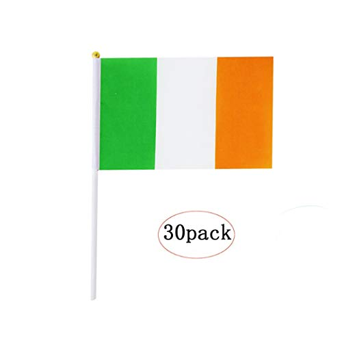 Ireland Stick Flag,Irish Hand Held Mini Small Flags On Stick International Country World Stick Flags For Party Classroom Olympics Festival Clubs Parades Parties Desk Decorations(30 pack) -