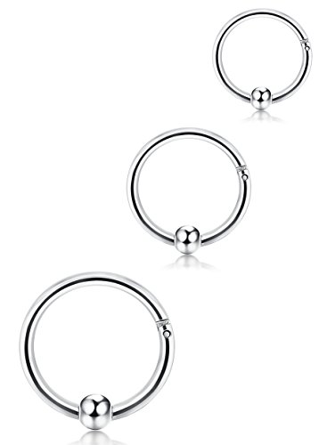 FUNRUN JEWELRY 3PCS 14G Stainless Steel Captive Bead Ring for Men Girls Hoop Nose Ring Tragus Helix Earrings Silver Tone 8-12mm