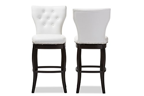 - Baxton Studio BBT5222-White Leonice Faux Leather Upholstered Button-Tufted Swivel Barstool, 29
