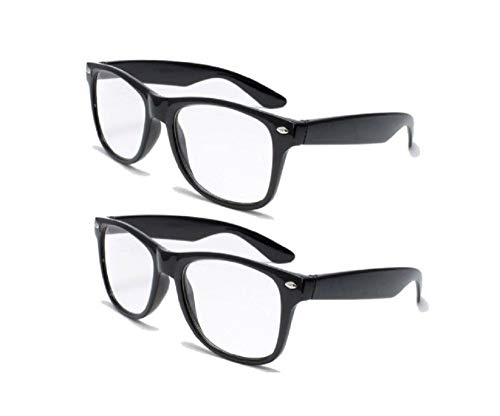 2 Pairs Retro Square Trendy Style Reading Glasses - Comfortable Readers RX Magnification With Spring Hinge 2.50 ()