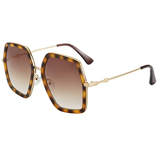 WOWSUN Oversized Fashion Sunglasses For Women Irregular Inspired Brand Designer Style (Leopard Frame - Brown Gradient Lens, - Oversized Brown Designer