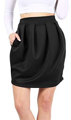 (Womens Pleated High Waisted Mini Skirt with Pockets Bubble Skirt - Made in USA (Size X-Large US 10-12, Black))