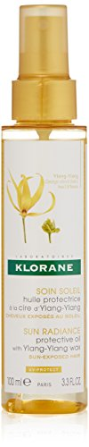 Klorane Protective Oil with Ylang-Ylang Wax, Shield against UV, Salt, Sand and Chlorine, Water Resistant, Protects from Color Fade, 3.3 oz.