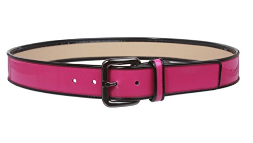 Ladies Piping Edged Patent Leather High Waist Fashion Belt Size: XS - 28 Color: Hot - Leather Piping Patent