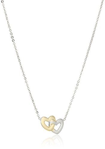 - 14k Gold Two-Tone Italian Entwined Miniature Hearts Adjustable Necklace