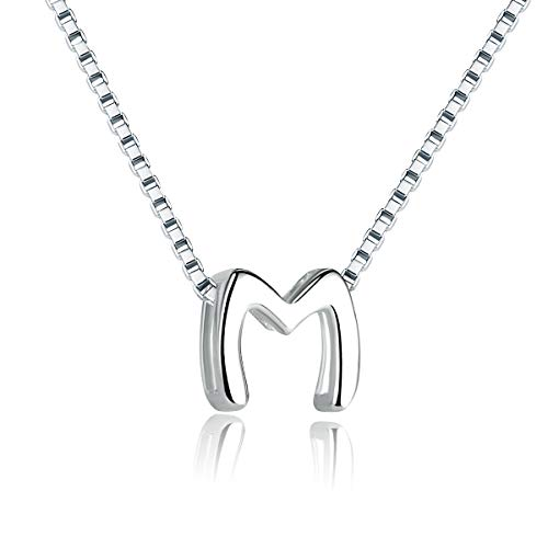 (SIMPLOVE Letter M Necklace 925 Sterling Silver A-Z Letter Initial Dangle Choker Necklace Personalized DIY Tiny Dainty Alphabet Name Jewelry for Women Girlfriend Gift)