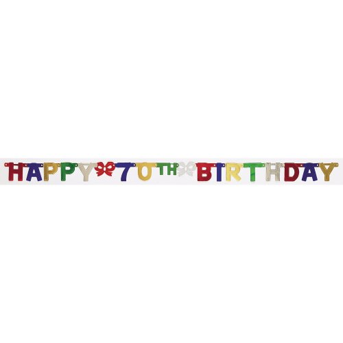 Creative Converting Party Decoration Jointed Banner, Happy 70th Birthday, 6.5-Feet - 70th Birthday