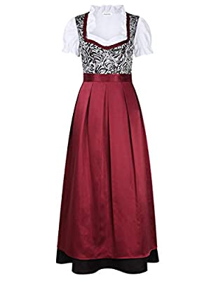 Clearlove 4 Different Style Traditional Dirndl Dress Blouse Apron for Oktoberfest