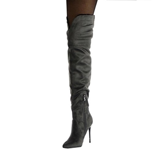Stiefel Stiletto cm Stiefel Weiche Oberschenkel High 10 Stiletto Heel Schuhe 5 Angkorly Damenmode Grau Cavalier TO1wX1tx