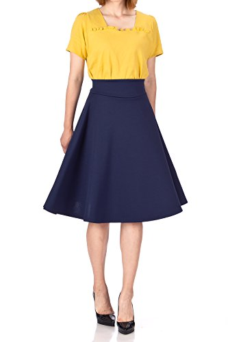 Stunning Wide High Waist A-line Full Flared Swing Office Dance Party Casual Circle Skater Midi Skirt (M, Navy)
