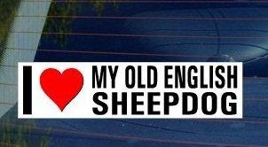 I Love Heart My OLD ENGLISH SHEEPDOG - Dog Breed - Sticker Graphic - Personalized Sticker Custom Sticker Street Sign ()
