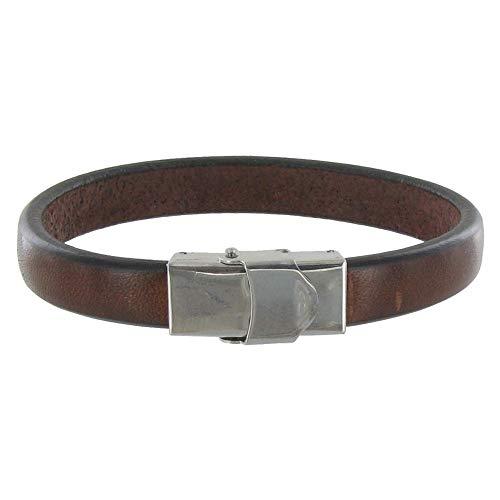 Les Poulettes Jewels - Men's Bracelet Dark Brown Leather Wide Steel Clasp
