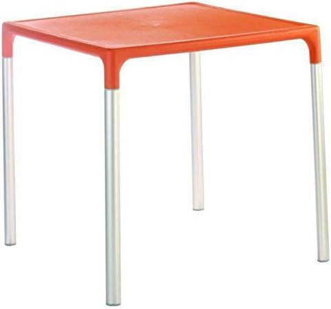 """28"""" Aluminum Patio Dining Table in Orange Coffee Table Patio Furniture Outdoor Furniture Side Table Dining Table Patio Furniture Set Patio Decor Round Coffee Table Patio Set Bar Table Outdoor Decor"""
