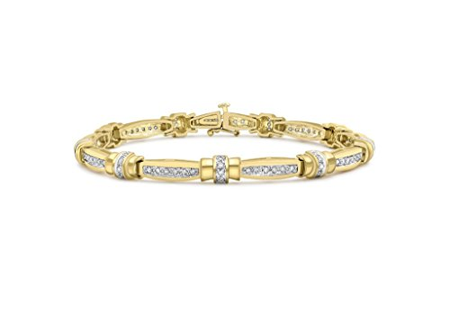 """Jewellery World Bague en or jaune 9carats Diamant Bar Bracelet Lien 18cm/7"""""""