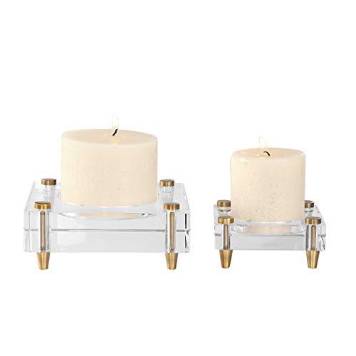 Crystal Bellacor Sconce (Uttermost 2-Pc Crystal Block Candleholder Set)