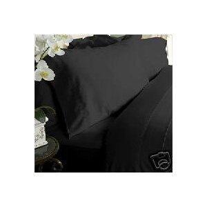 solid black 550 thread count twin extra long size sheet set 100 cotton deep pocket bed sheets. Black Bedroom Furniture Sets. Home Design Ideas