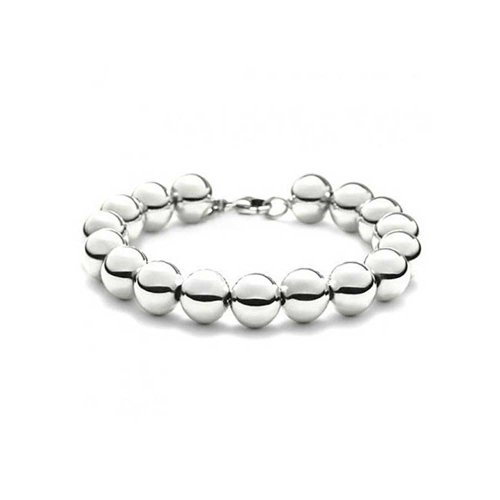 Bling Jewelry 10mm Sterling Silver Bead 7.5in (75 Bracelet Sterling Silver Jewelry)