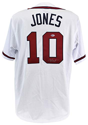 - Braves Chipper Jones Authentic Signed White Jersey Signed On #0 BAS