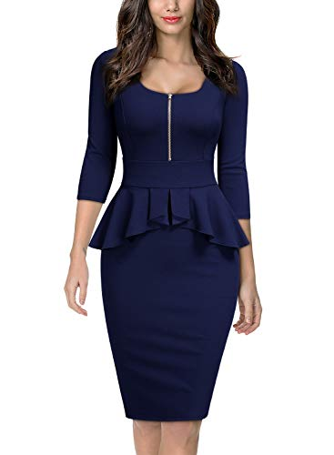 Miusol Women's Retro Square Neck Ruffle Style Slim Business Pencil Dress,Medium,Navy Blue