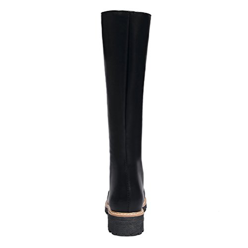 Block Zip Heel Toe Womens Low Black Round Shoes Boots Knee High Warm With Agodor XqI8Twvv