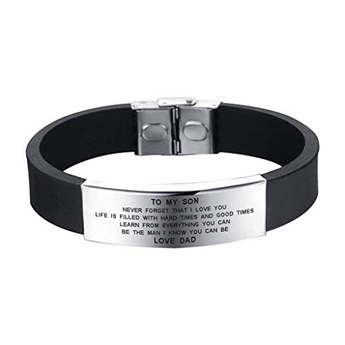SOUSYOKYO to My Son Never Forget That I Love You Boys Inspiration Gift Love Dad Men Bracelets