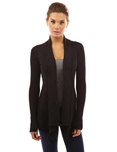 PattyBoutik-Womens-Ribbed-Cascading-Open-Cardigan-Black-S