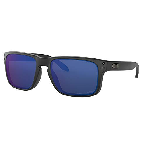 Oakley Men's OO9102 Holbrook Square Sunglasses, Matte Black/Ice Iridium Polarized, 57 mm