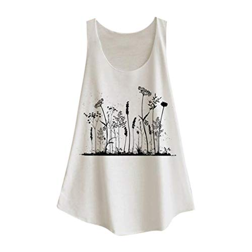 ANJUNIE Women Leisure Sleeveless Print Shirt Casual Loose Tank Top Soft Comfortable Vest(5-White,XL)