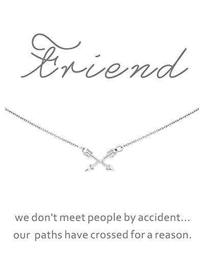 CYBERNY Graduation Gift Best Friends Cross Arrow Pendant Necklace for Women with Inspirational Card -