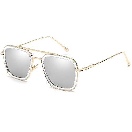 Retro Aviator Sunglasses Square Metal Frame for Men Women Sunglasses Classic Downey Iron Man Gold Frame Mirror Lens