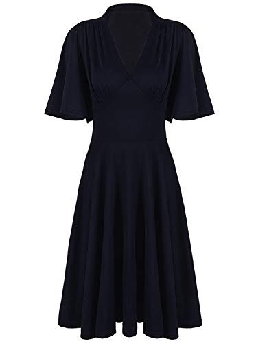(VIJIV Womens Vintage 1920s V Neck Rockabilly Swing Evening Party Cocktail Dress with Sleeves Roaring 20s Navy)