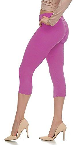 Lush Moda Extra Soft Capri Leggings - Variety of Colors - Spring Azalea, One Size fits Most (XS - (Pink Soft Capris)