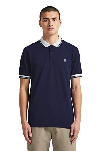 Fred Perry Men's Contrast Rib Pique Shirt, Carbon Blue Medium