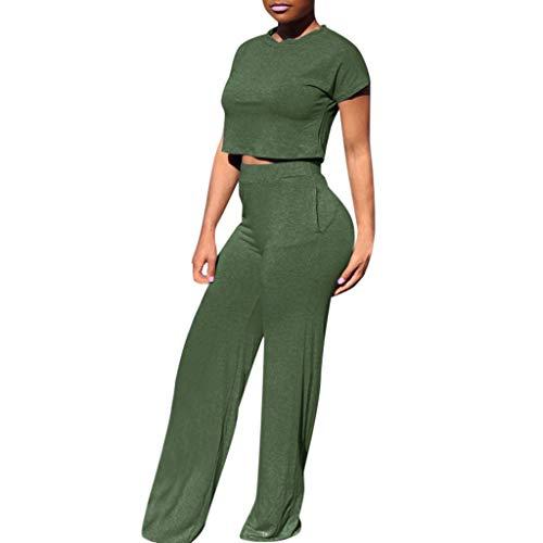 ♡ Londony ♡ Women Casual O-Neck Short Sleeve Crop Tops High Waist Flare Long Pants Jumpers 2 Piece Outfits Sportswear Green
