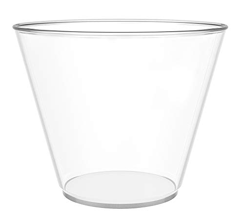 JL Prime 100 Clear Plastic Cups, 9 Oz Heavy Duty Reusable Disposable Clear Plastic Cups, Old Fashioned Tumblers, Hard Plastic Drinking Cups for Party and Wedding