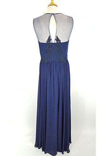 Navy MC185132 Illusion Marine langes Blue Kleid Spitze Mascara Körper amp; Ausschnitt q1vZw15