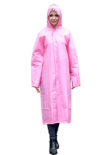 AIRCEE Lightweight Rain Cape Hooded Jacket Poncho Raincoat With Visor (XL, - Transparent Pink Visor